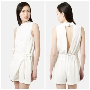 TOPSHOP D-Ring High Neck Ivory Romper